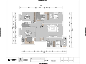 北京装修彩经网北京富力又一城124㎡现代简约三室两厅