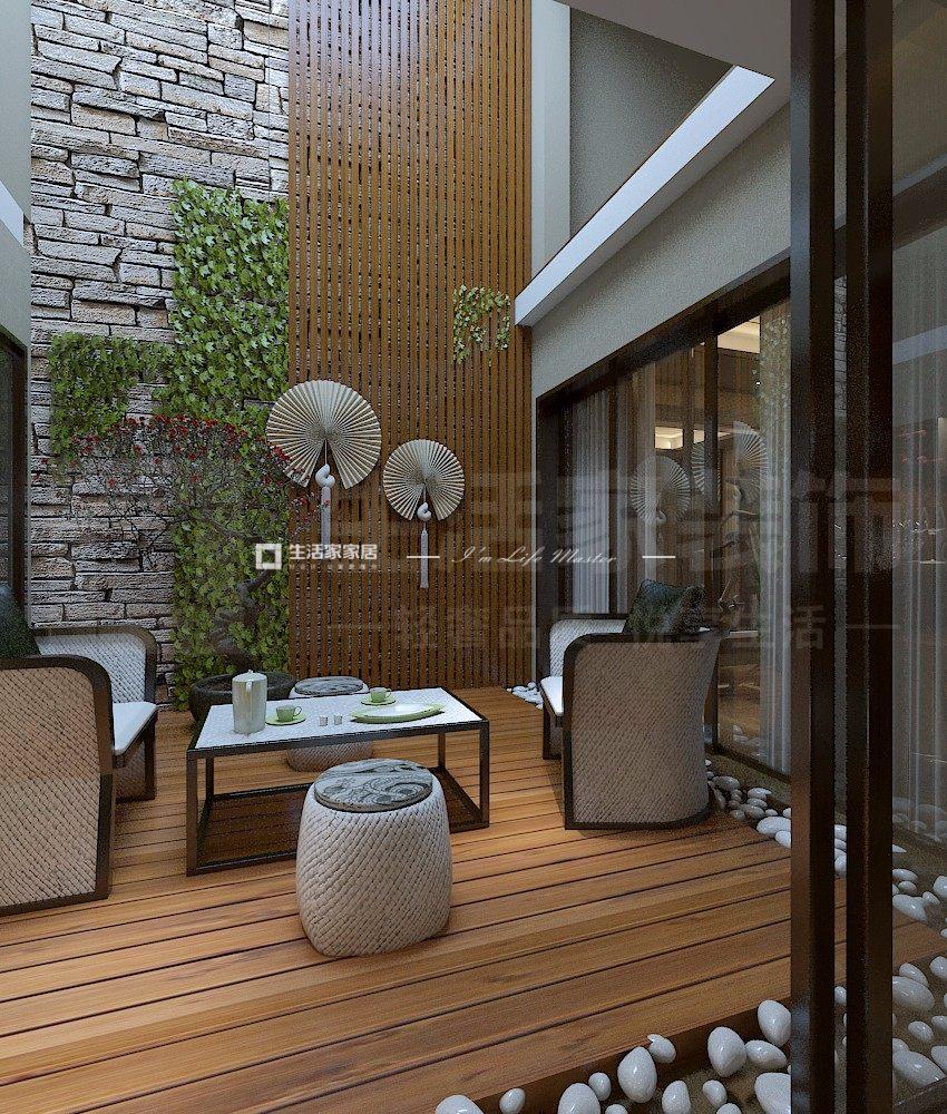 新中式入户花园装修效果图