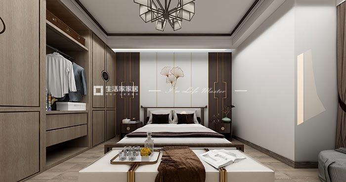 新中式卧室广东11选5走势图效果图
