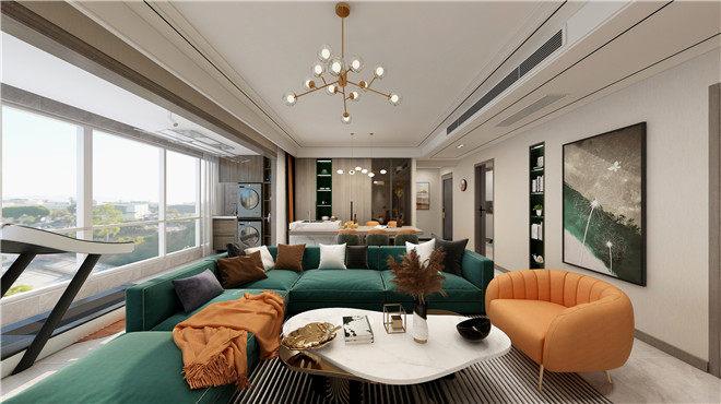 西安裝修公司綠地與湖+四居室+現代風格